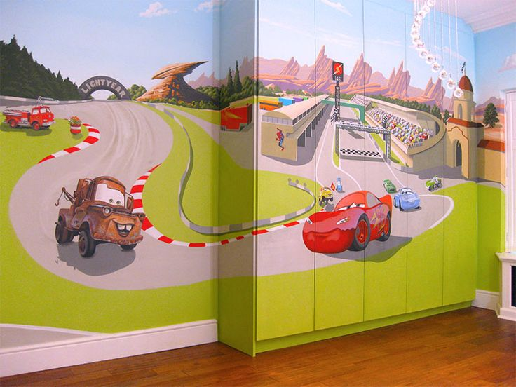 Baby Spice Bunton Cars Mural On Fitted Wardrobe Mcqueen Mater