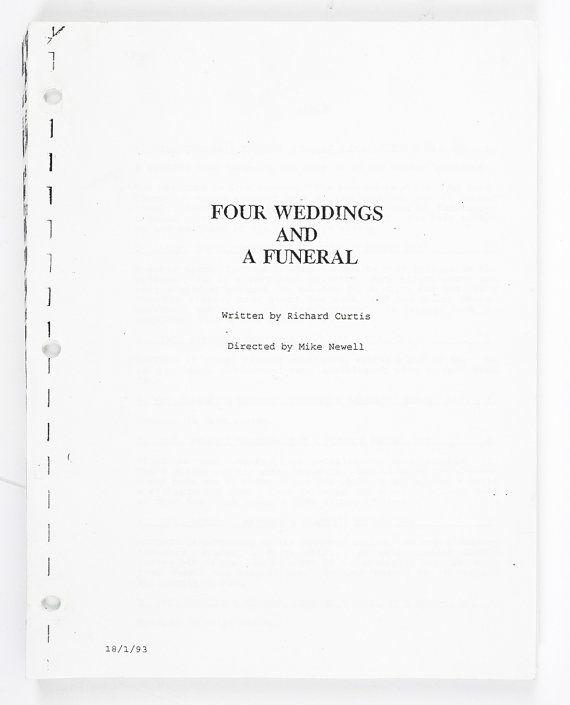 1993 Four Weddings and a Funeral Movie Script Screenplay, film script, Four Weddings and a Funeral, Four Weddings and a Funeral Script, Original film script, Hugh Grant film script, Richard Curtis film script, And MacDowell film script, original screen play,
