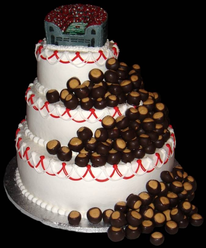 Great for a party, could double as a groom's cake. because, yah know I WILL have a husband who LOOOVES the Buckeyes :)