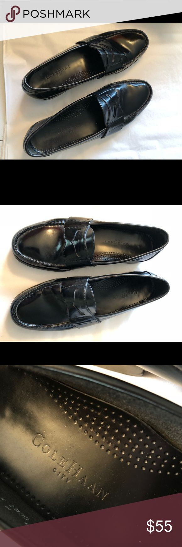 """Cole Haan """"city"""" designer black penny loafers 9 In excellent condition like new no scuffs or marks.  Authentic original Cole Haan black slip on's. Size 9 Cole Haan Shoes Loafers & Slip-Ons"""