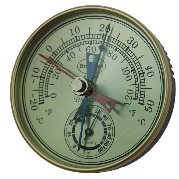 Dial Bimetallic Max Min Thermometer with gilt bezel and black plastic case. Red and blue pointers to indicate highest and lowest temperatures reached since reset. This design is activated by a bimetallic temperature sensing element. The temperature range covers -20 to +50°C&F and humidity 0 to 100%RH