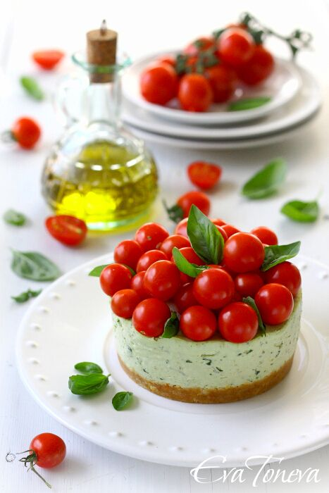 """Pesto """"Cheesecake"""". I'd love to roast those cherry tomatoes for extra flavour!"""