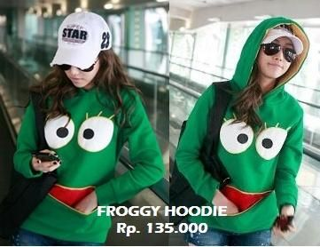Froggy Jaket Sweater Hoodie - Jaket Sweater Hoodie Cute Unique Korean Style, Outfit Fashion Organizer | Yukbisnis