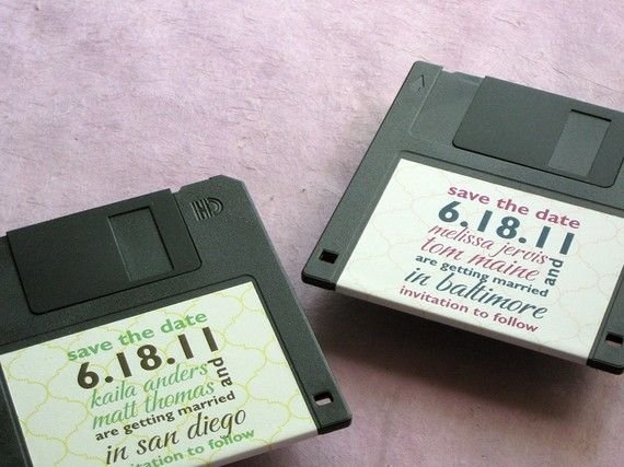 Floppy Disk Save the Date cards. Fun as invites, place card holders, and food labels as well.