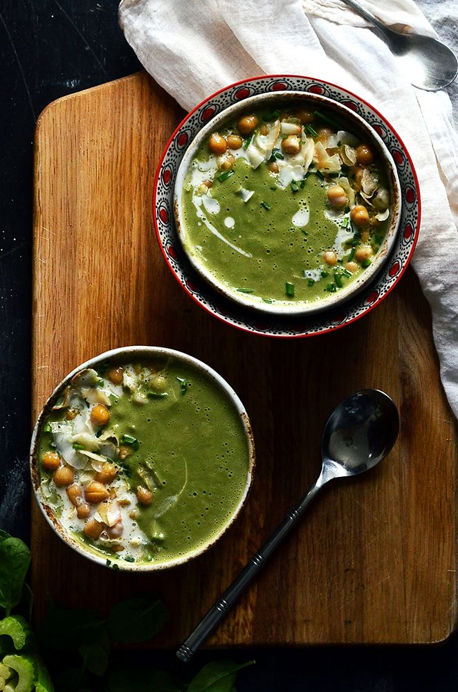 Coconut Supergreens and Spirulina Soup   Detox your body with nutritious dark greens and spirulina superfood blended into a delicious, creamy soup. Too tasty to believe it's super good for you!