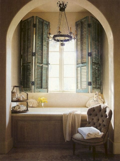 Bubble Bath Heaven <3: Bathroom Design, Old Shutters, Idea, Bathtubs, Master Bath, Window Seats, Bathroom Window, Design Bathroom, Nooks