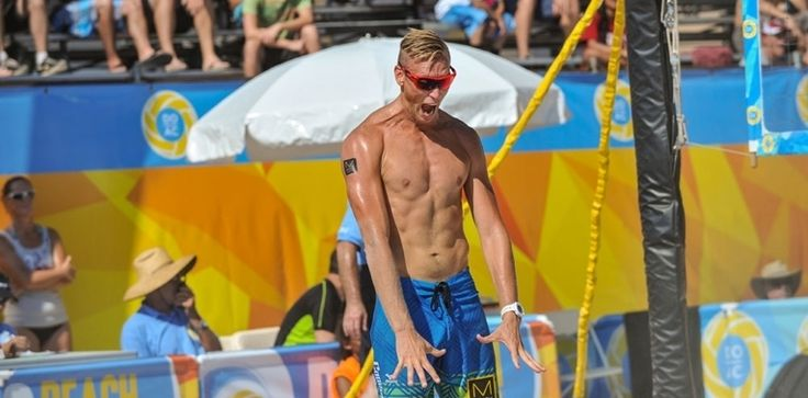 Casey Patterson celebrates wildly at the Atlantic City AVP event.