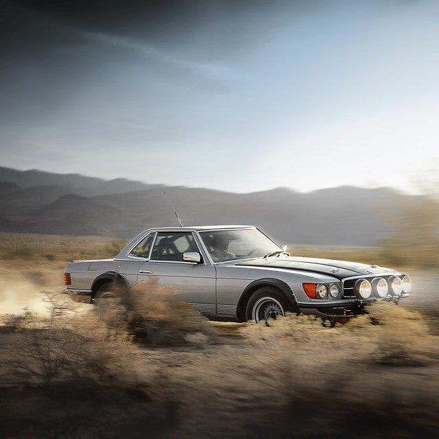The mighty Mercedes-Benz R107/500SL rally car on the move at dawn in the California desert. #MB #mercedes #MercedesBenz #MBphoto #MBcar #R107 #500SL #rally #auto #automotive #automobile #AutoFocused #car #cars #German #Germancars #instagood #instacar...