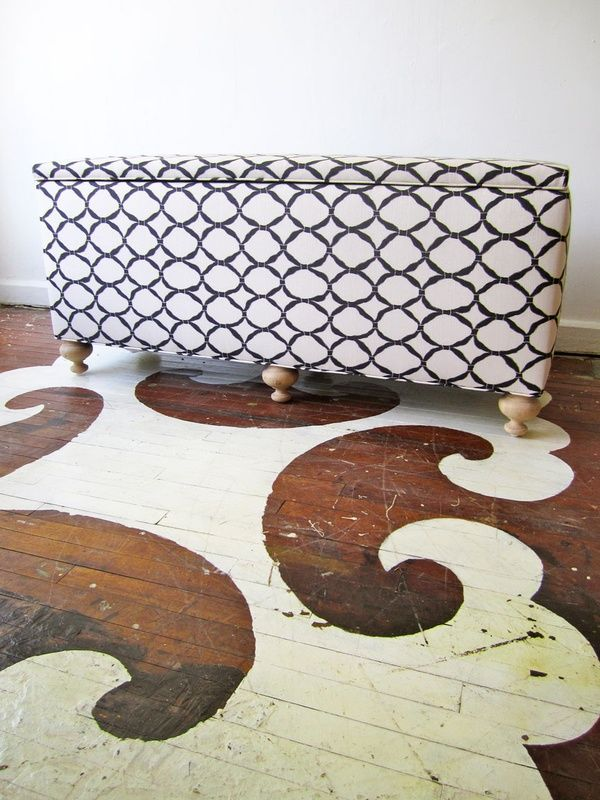 Méchant Design: painted wood floor. This look is so rustic ally awesome. I'd do if I had older house with older floors!