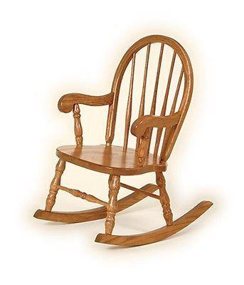 Classic Childrens Oak Rocker Bow Back Child Wooden Rocking Chair Amish Handmade