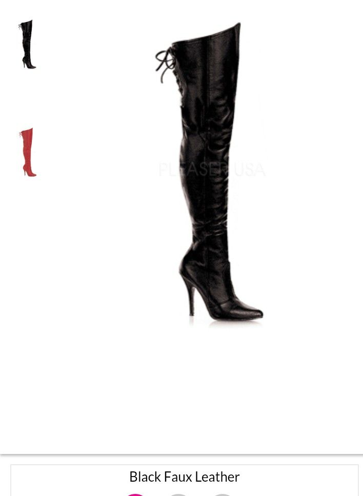 Yandy faux leather thigh high boots, inner zipper