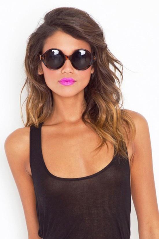 lip color + hair + hair color + sunglasses