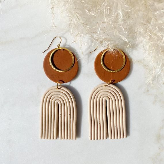 hand earrings Modern clay earrings gift ideas polymer clay and brass earrings Lightweight earrings Modern earrings BOHO