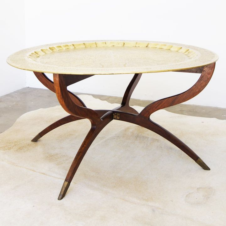 1960′s Moroccan Brass Tray Table With Its Ever So Gently