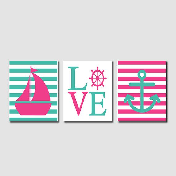 Nautical Sailing Hot Pink Aqua Wall Art Sailboat Love Captains Wheel Anchor Set of 3 Prints Girl Boy Nursery Bathroom Bedroom Decor Picture on Etsy, $27.00