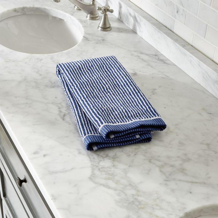 Marimekko Ilta Blue Hand Towel - Crate and Barrel