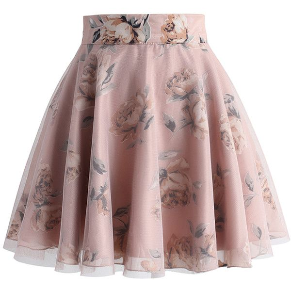 Chicwish Pink Roses Mesh Skater Skirt (115 BRL) ❤ liked on Polyvore featuring skirts, bottoms, pink, saias, skater skirt, floral skirt, red flared skirt, floral printed skirt and red circle skirt