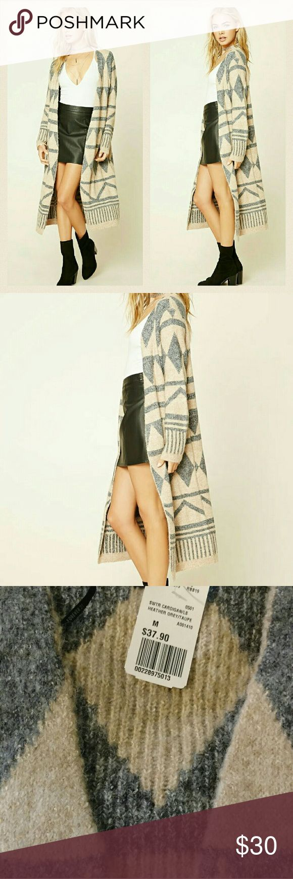 """Tribal Cardigan Tribal pattern, knit cardigan, open front, long sleeves, and longline silhouette. Length 44"""", sleeve 23"""", shoulders 16"""". Heather grey and taupe Forever 21 Sweaters Cardigans"""