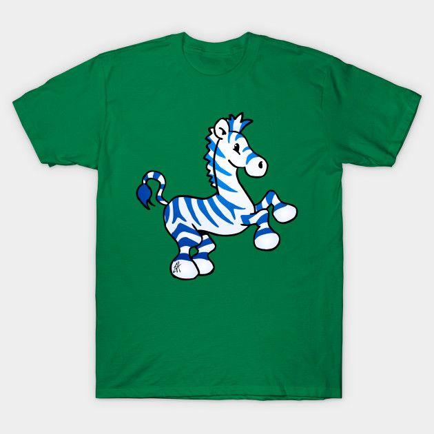 Blue zebra T-shirt.    #zebra #Tshirt #blue #Teepublic #Cardvibes #Tekenaartje
