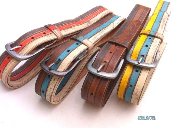 Tri color Handmade Leather Belt Brown Orange Beige by by ISHAOR, $150.00