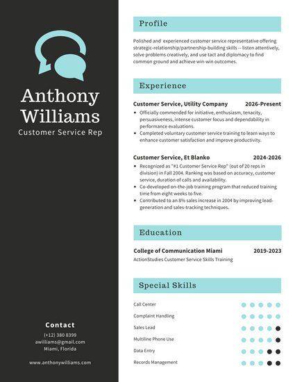 White and Black Customer Service Resume