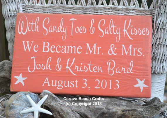 Custom Wedding Sign Beach Wedding Sign Anniversary Wedding Gift Sandy Toes Salty Kisses Mr Mrs Coastal Nautical Wedding Decor Personalized on Etsy, $34.00