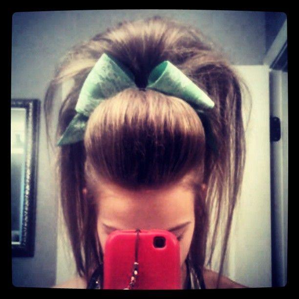 Emilee Clark cheer hair.... she always has the highest hair and the cutest bows ||