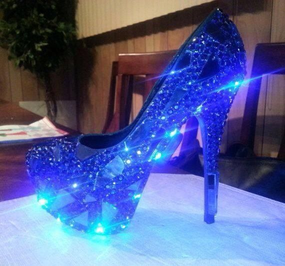 Blue sparkly glow in the dark high heels