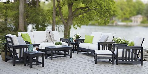 Outdoor Black Conventional Stained Wooden Conversation Set With Green Pillow Also Plant And Gl Besides Lighting Patio Furniture Sets For