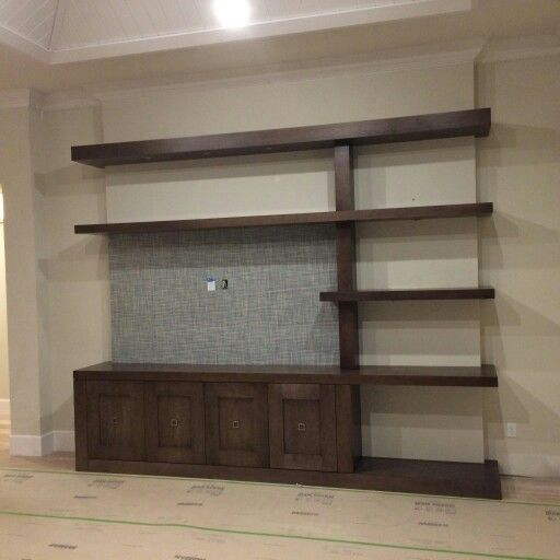 Maple Floating Shelf Entertainment Center Contemporary