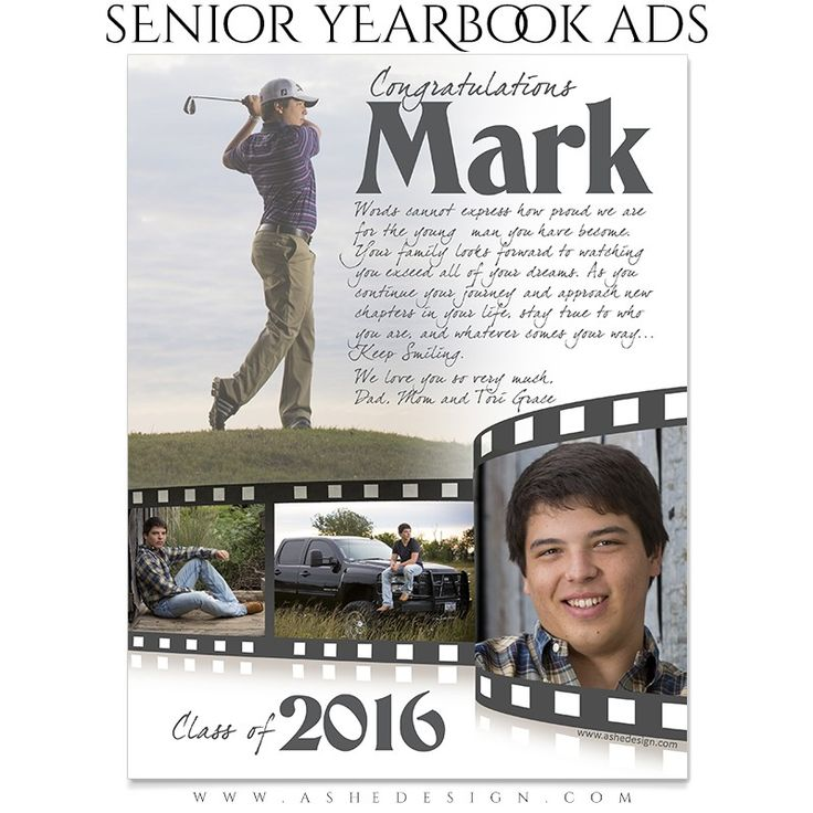 yearbook ad templates free - senior yearbook ads for photoshop film strip full pg