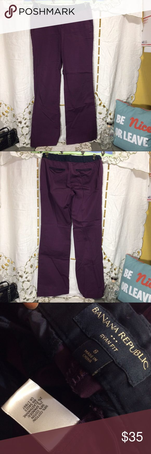 """Purple banana republic trousers nwot Woman's size 6 banana republic trousers new without tags. These are more of a plum purple and are trimmed in black. Mock back pockets. Has front pockets but they are still greased shut. The waist measures 16"""" flat across, the rise is 8 1/2"""" and the inseam is 32"""". Banana Republic Pants Trousers"""