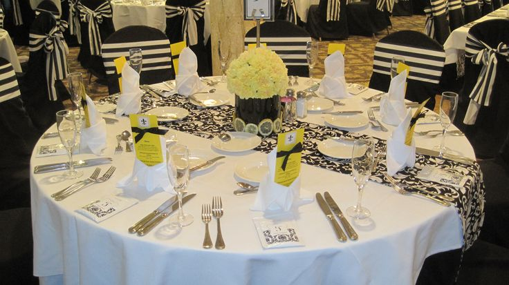 Black Amp Yellow Centerpiece Amp Tablescape Workin It Top