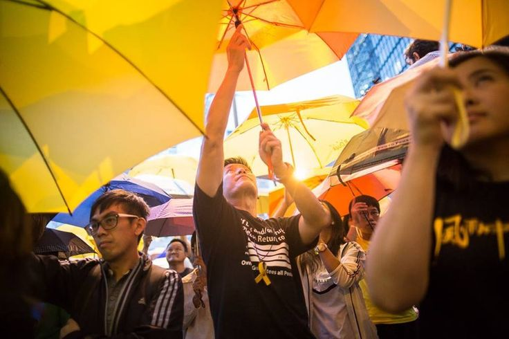 Umbrella Revolution Hong Kong, 28OCT2014, Protesters gather again at Umbrella Square, Admiralty one month after the Hong Kong police used tear gas to disperse protesters. (photo: Rayman Cheuk USP United Social Press 社媒)