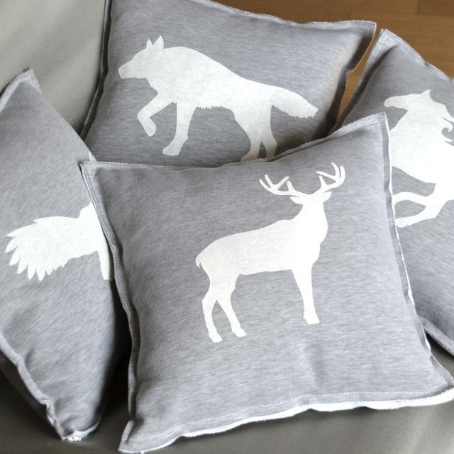 Woolves Wild White Pillows #pillow #print #screenprint #deer #wolf #horse #owl #woods #wild #animals #gray #minimalist #scandinavian #home #decoration