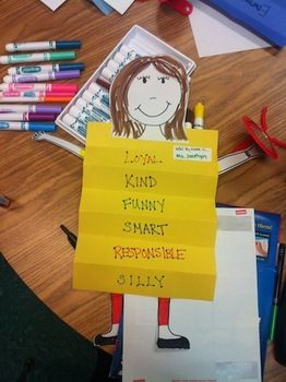 Slinky Character Trait Person - great idea to help students identify their positive attributes.