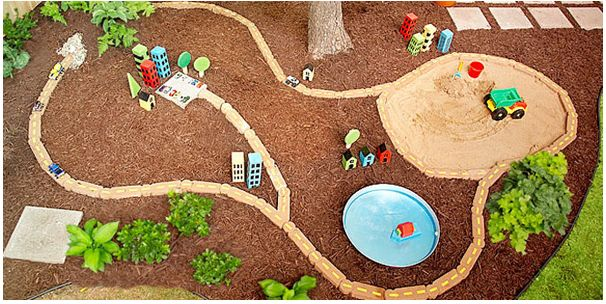 kid friendly backyard ideas | Love this reuse of materials-wood and stones