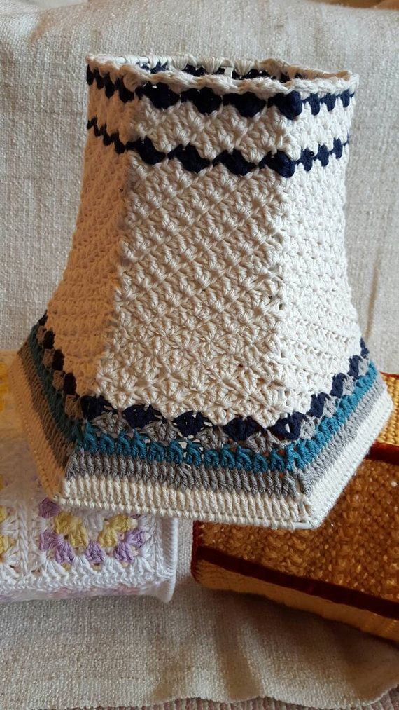 A Reloved Lampshade Frame Wad Used And To Hand Crochet Around Using Cotton  Yarn. Using Treble Shells To Create A Stately Looking Beautiful And Unique  ...