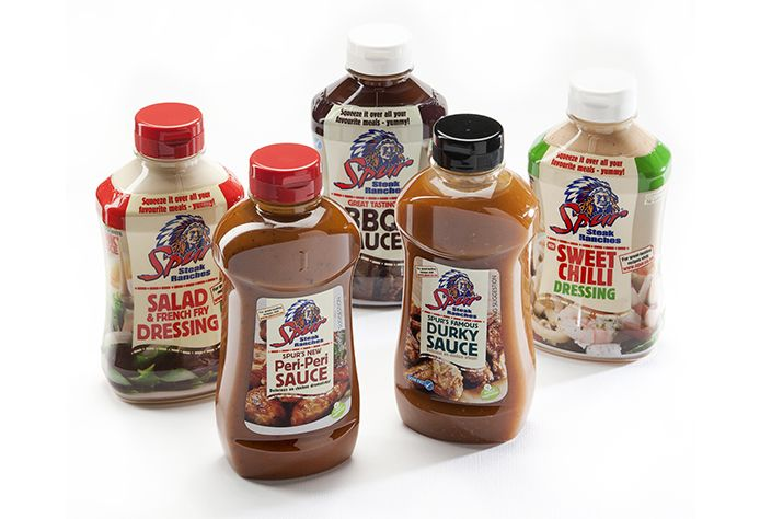 Spur's delicious sauce collection: BBQ, Salad & French Fry Dressing, Sweet Chilli, Durky and Peri-Peri | https://www.spur.co.za/sauces/spur-sauces
