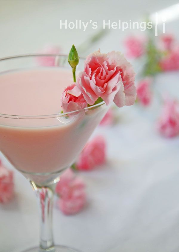 Pink Carnation...white chocolate liquor, milk (I would use half/half), vodka and grenadine.  Perfect for #Valentines Day