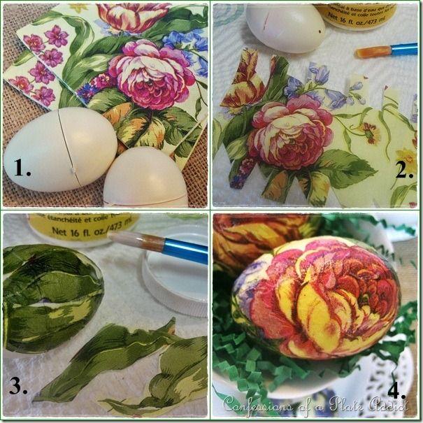 Botanical Decoupage Eggs.......plastic eggs, ivory spray paint, floral napkins, matte finish Mod Podge.
