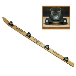 Wood Shot Ski - holds 4 shots - comes with 4 Jagermeister Shot Glasses