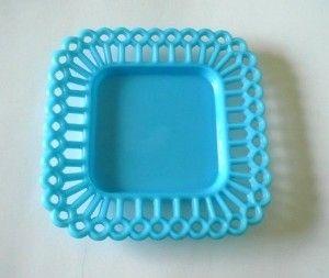 Vintage Milk Glass Plate Aqua Blue France
