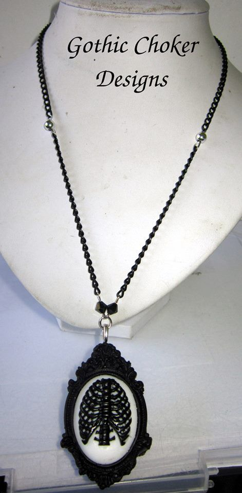 Black and white ribcage gothic cameo necklace.  R120