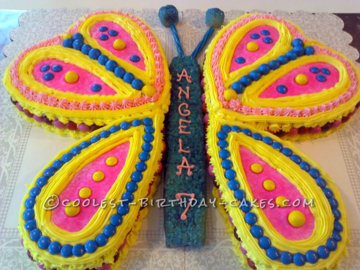 Easy But Fancy-Looking Butterfly Birthday Cake... This website is the Pinterest of birthday cake ideas