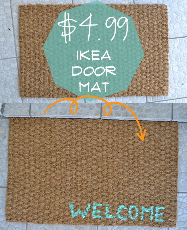 DIY Painted IKEA Door Mat- you could paint a family name or paint/stencil a seasonal shape