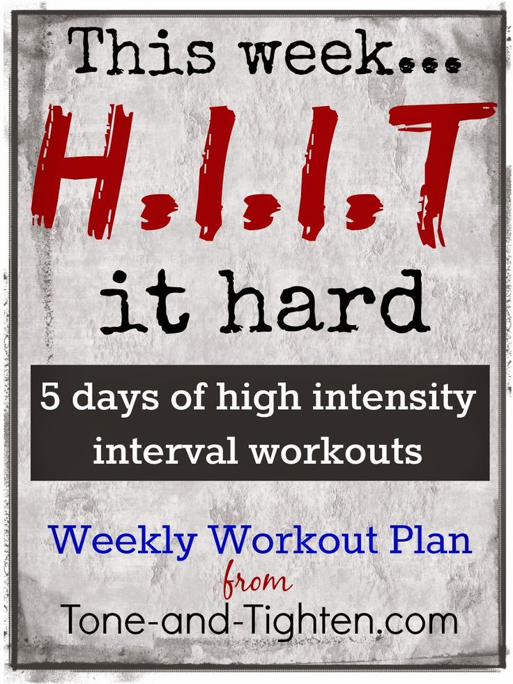 Weekly workout plan - 5 days of high intensity interval workouts from Tone-and-Tighten.com! #workout #fitness #HIIT