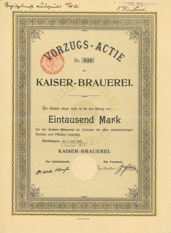 HWPH AG - Historische Wertpapiere - Kaiser-Brauerei    Ricklingen, 01.07.1902/01.10.1902, Vorzugs-Aktie über 1.000 Mark