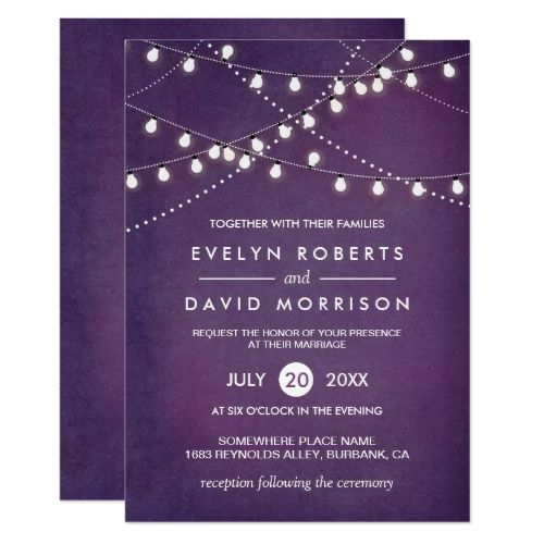 Twinkle String Lights Dark Purple Outdoor Wedding Card