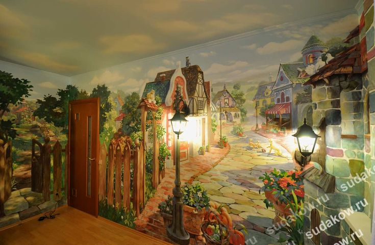 Custom painted fairy tale mural for a girl's bedroom.  #girlroommuralidea #custommuralkidbedroom